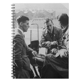 Men Chatting Black & White Image Photo Notebook