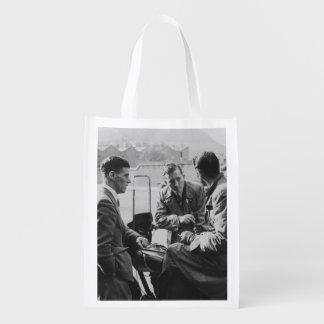 Men Chatting Black & White Image Re-Usable Bag