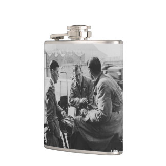 Men Chatting Black & White Vinyl Wrapped Flask