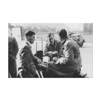 Men Chatting Old Black & White Image Canvas Print