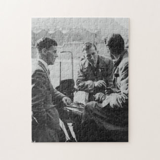 Men Chatting Old Black & White Image Jigsaw Puzzle