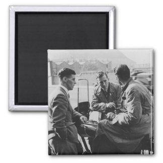 Men Chatting Old Black & White Image Square Magnet