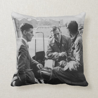 Men Chatting Old Image Polyester Throw Cushion