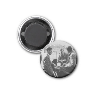 Men Chatting Old Image Small Round Magnet