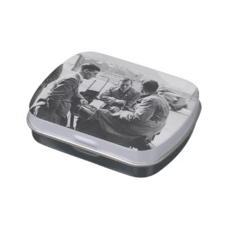 Men Chatting Old Image White Jelly Belly Candy Tin