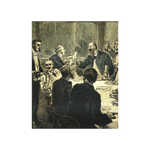Men Drinking at the Club Vintage Illustration Stretched Canvas Print