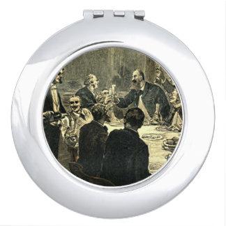 Men Drinking at the Club Vintage Illustration Makeup Mirror