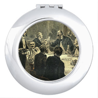 Men Drinking at the Club Vintage Illustration Travel Mirrors