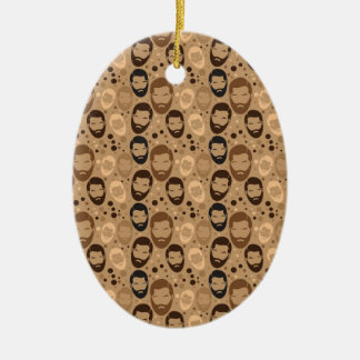 Men in Beards pattern Ceramic Oval Decoration