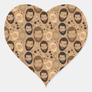 Men in Beards pattern Heart Sticker