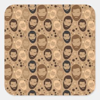 Men in Beards pattern Square Sticker