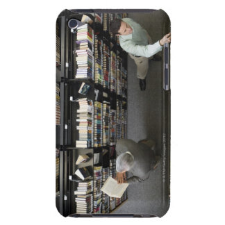 Men in library looking for books barely there iPod covers