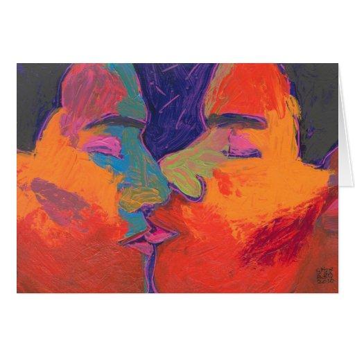 Men Kissing Colorful Greeting Card