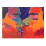 Men Kissing Colourful Postcard