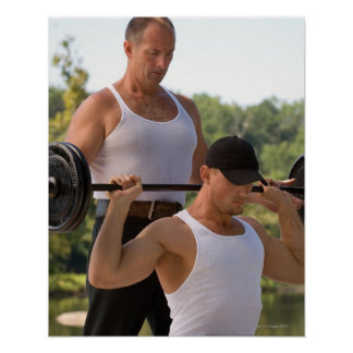 Men lifting barbell poster