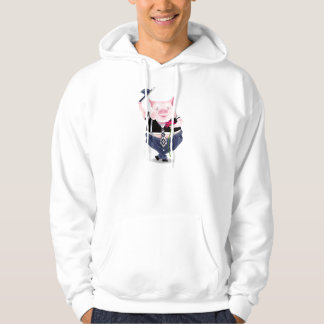 Men long sleeve hoody with funny pig