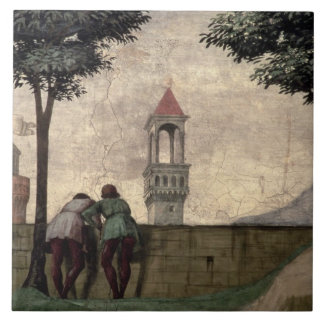 Men Looking over a Wall, from the Visitation (fres Tile