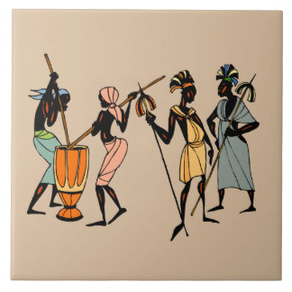Men of Kenya Large Square Tile