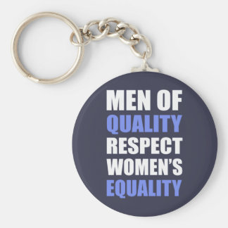 """""""Men Of Quality Respect Women's Equality"""" Basic Round Button Key Ring"""