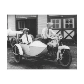 Men on Harley Davidson Motorcycle with Sidecar Canvas Print