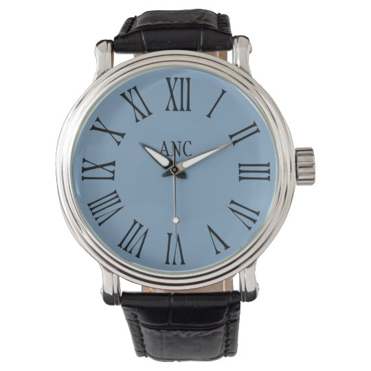 Men Personalised Initials Roman Numeral Blue Watch