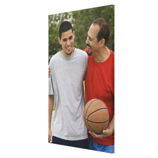Men playing basketball canvas print