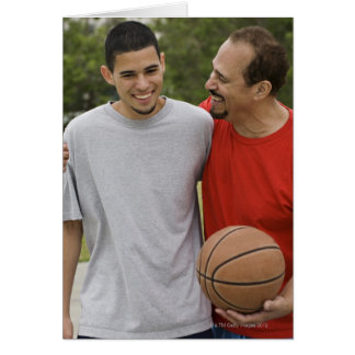 Men playing basketball card