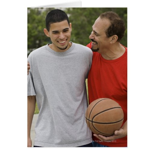 Men playing basketball card