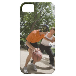 Men playing basketball outdoors case for the iPhone 5