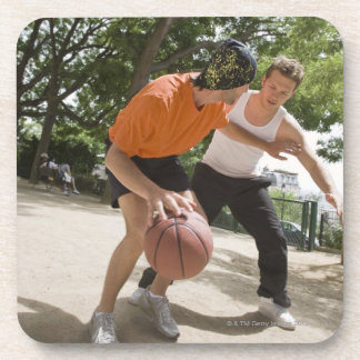 Men playing basketball outdoors drink coaster