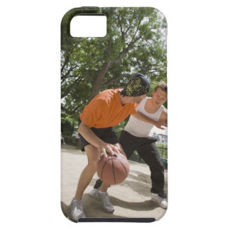 Men playing basketball outdoors iPhone 5 case