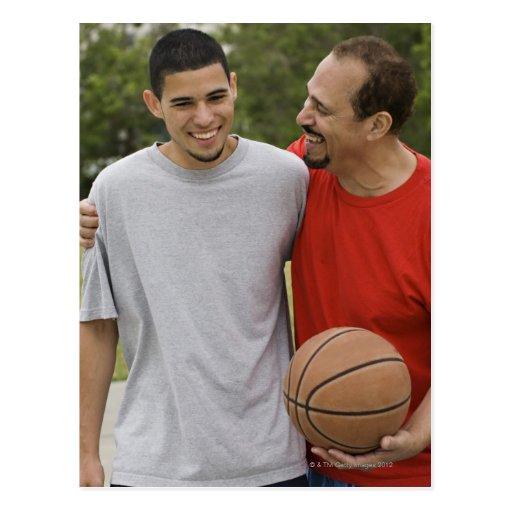 Men playing basketball post card