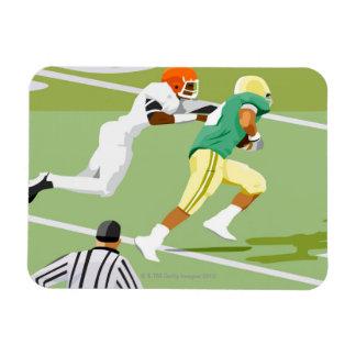 Men playing football 2 rectangle magnet