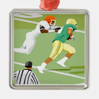 Men playing football 2 Silver-Colored square decoration