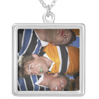 Men Playing Rugby Silver Plated Necklace