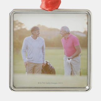 Men pulling golf carts Silver-Colored square decoration