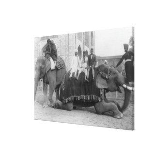 Men Riding Elephants in India PhotographIndia Canvas Print