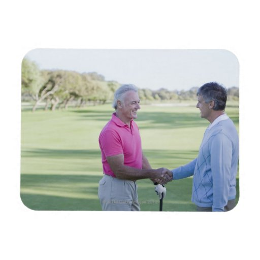 Men shaking hands on golf course rectangle magnets