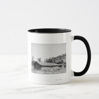 Men Sitting outside Log Cabin in South Dakota Mug