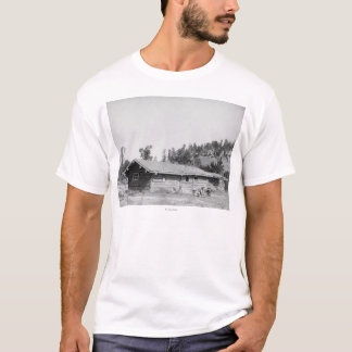 Men Sitting outside Log Cabin in South Dakota T-Shirt