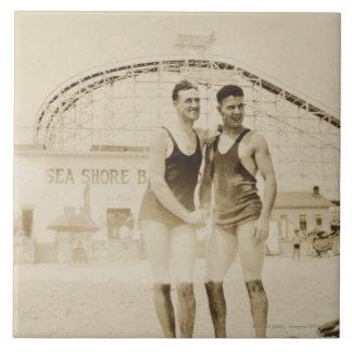 Men Standing on Beach Large Square Tile