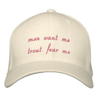 men want me  trout fear me embroidered baseball caps