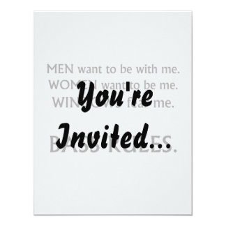 Men want me, women want, windows fear me black txt 11 cm x 14 cm invitation card
