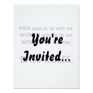 Men want me, women want, windows fear me purple 11 cm x 14 cm invitation card