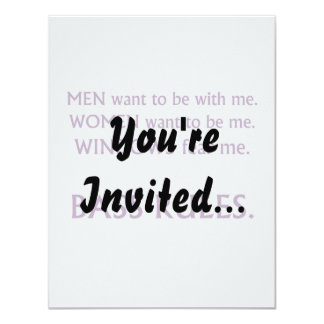 "Men want me, women want, windows fear me purple 4.25"" x 5.5"" invitation card"