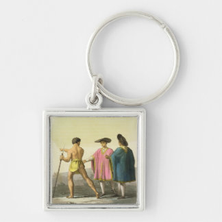 Men Wearing Ceremonial Ponchos in Santiago, Chile Silver-Colored Square Key Ring