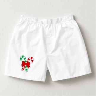 Men White Cotton Candy Cane Boxers