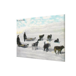 "Men with ""Artic Fast Mail"" Dogsled Canvas Print"