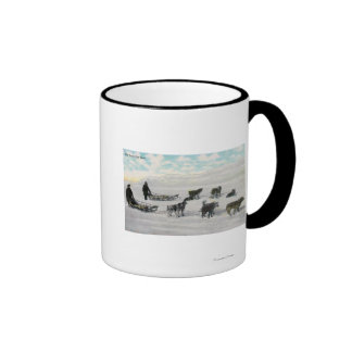 """Men with """"Artic Fast Mail"""" Dogsled Mugs"""