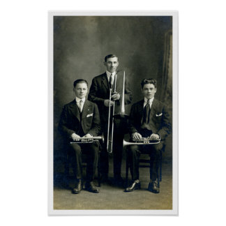 Men with Brass Instruments Poster